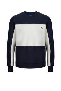 JACK & JONES ORIGINALS sweater donkerblauw/wit, Donkerblauw/wit