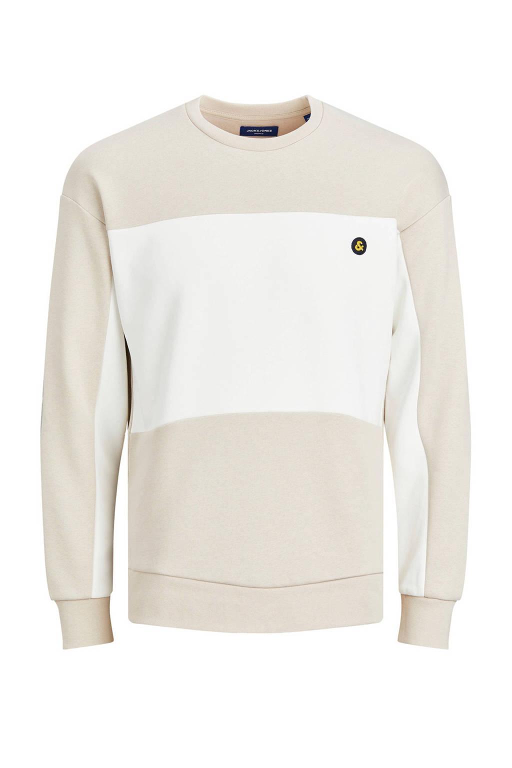 JACK & JONES ORIGINALS sweater beige/wit, Beige/wit