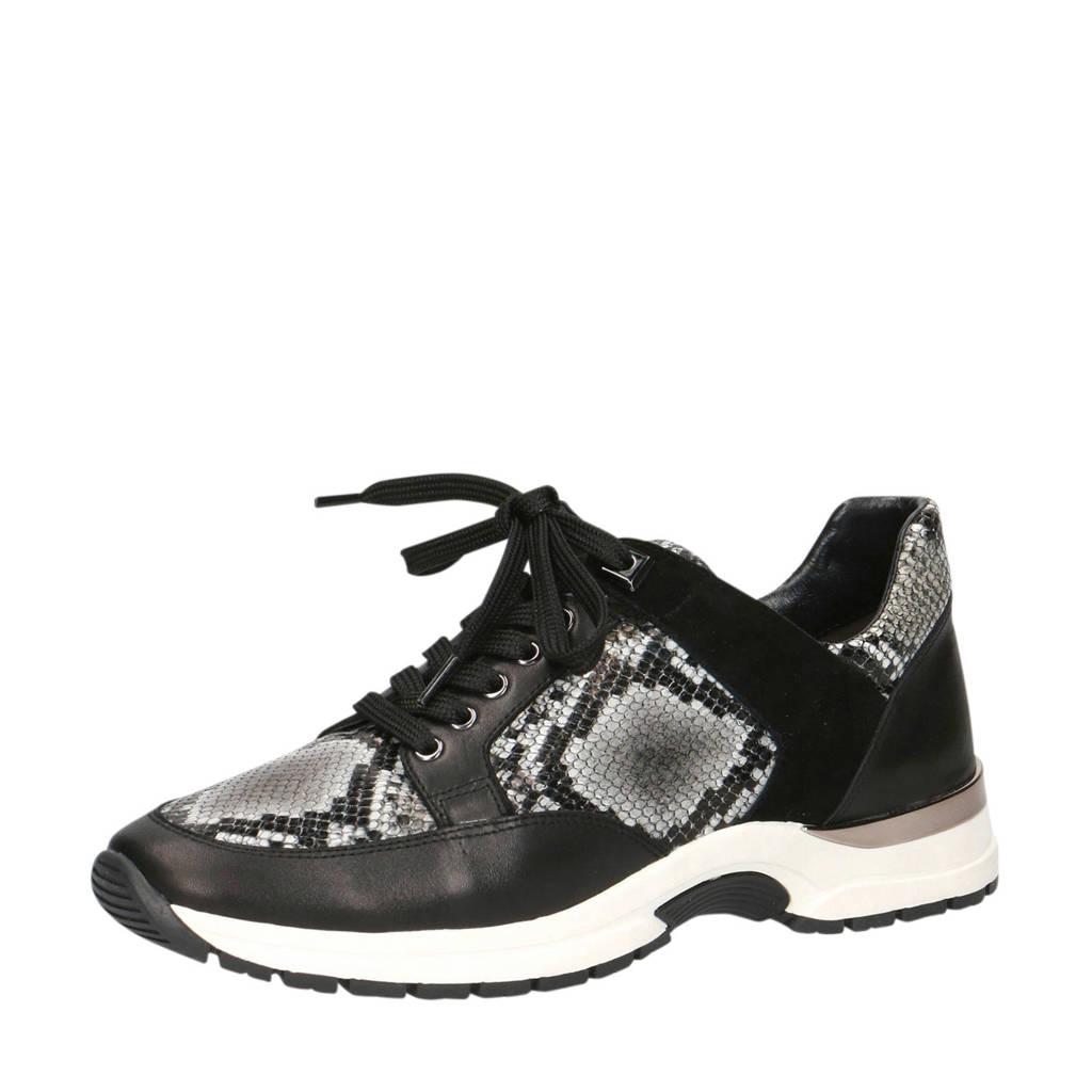 Caprice Lea  leren sneakers zwart/slangenprint, Zwart/grijs