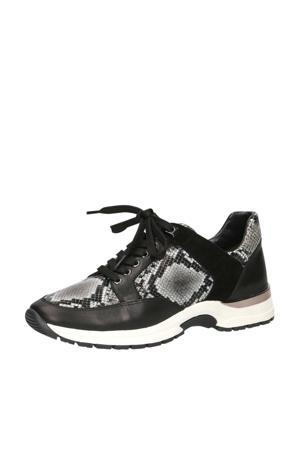 Lea  leren sneakers zwart/slangenprint