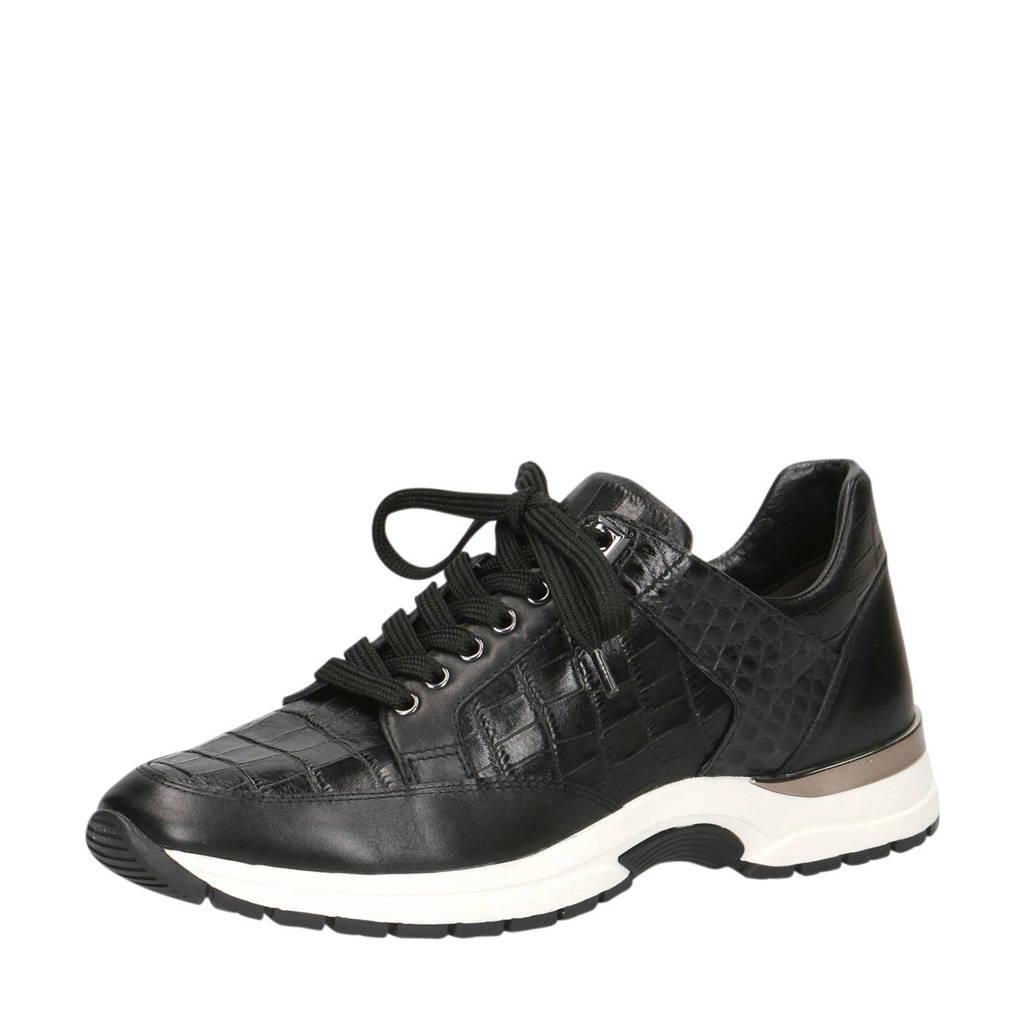 Caprice Lea  leren sneakers zwart/crocoprint, Zwart