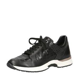 Lea  leren sneakers zwart/crocoprint