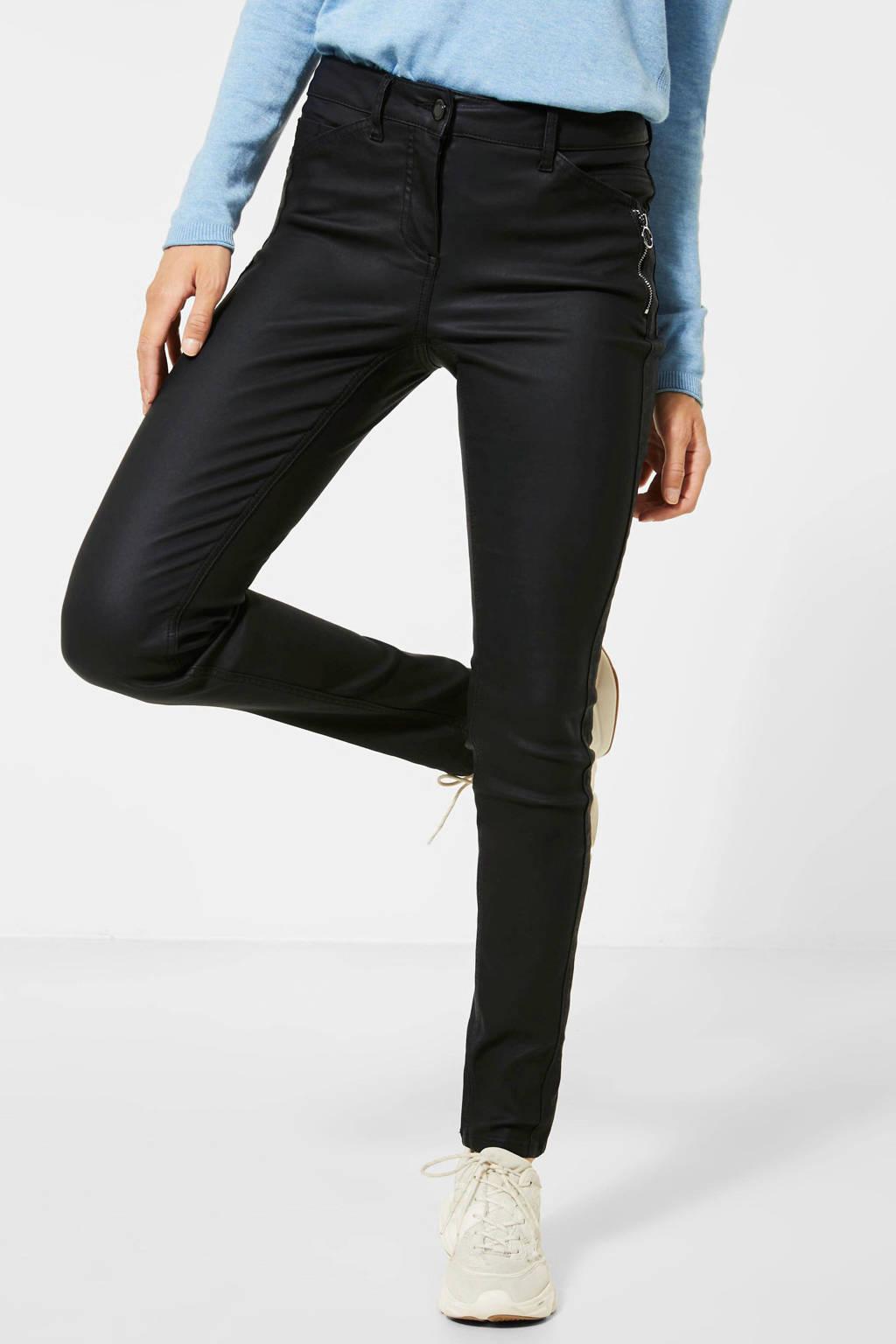 CECIL coated skinny broek Vicky zwart, Zwart