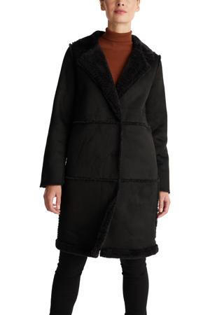coat met teddy voering en reverskraag zwart
