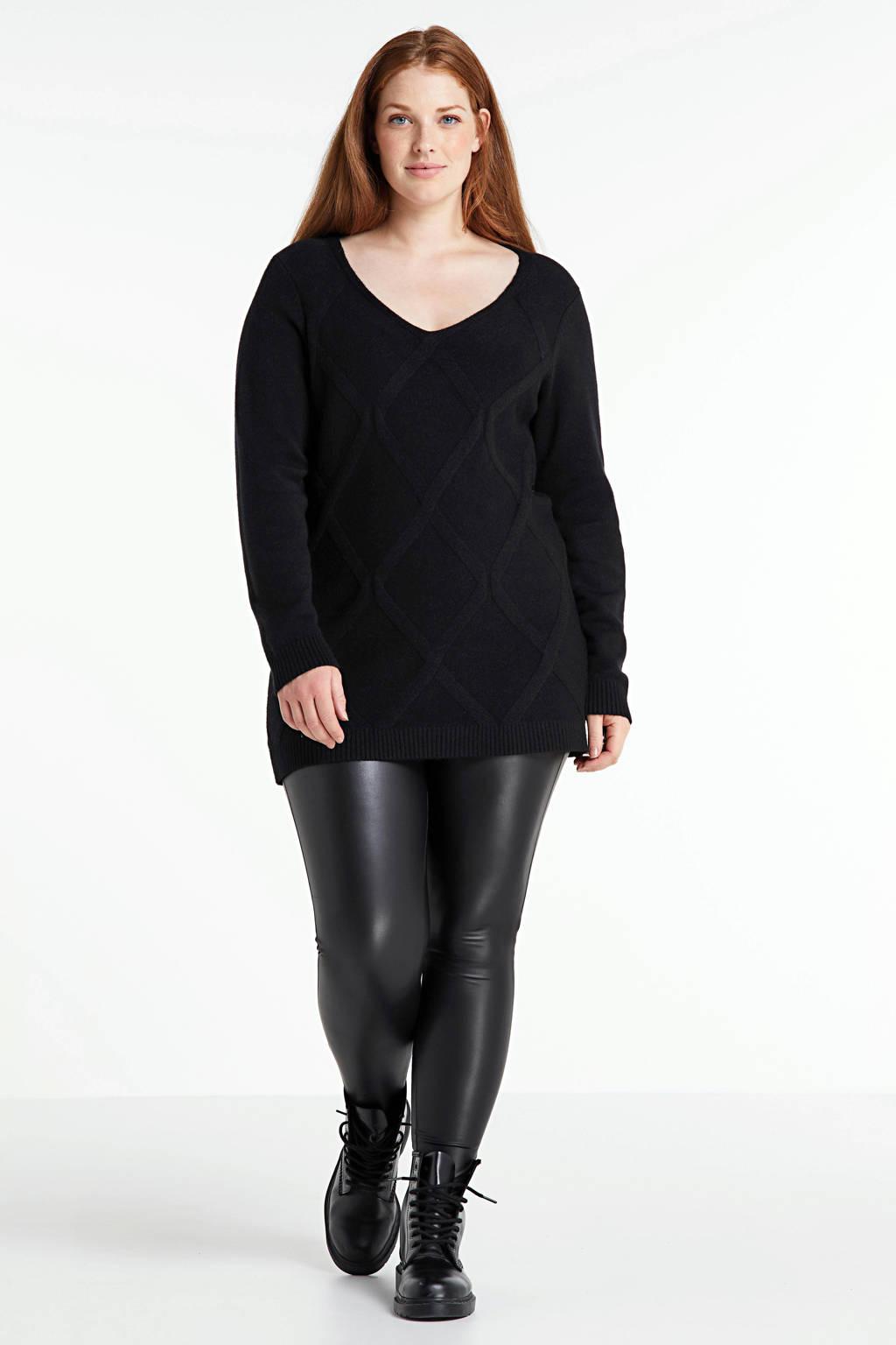 ONLY CARMAKOMA coated legging Rool zwart, Zwart