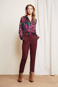 Fabienne Chapot cropped slim fit broek Hugo bordeaux, Bordeaux