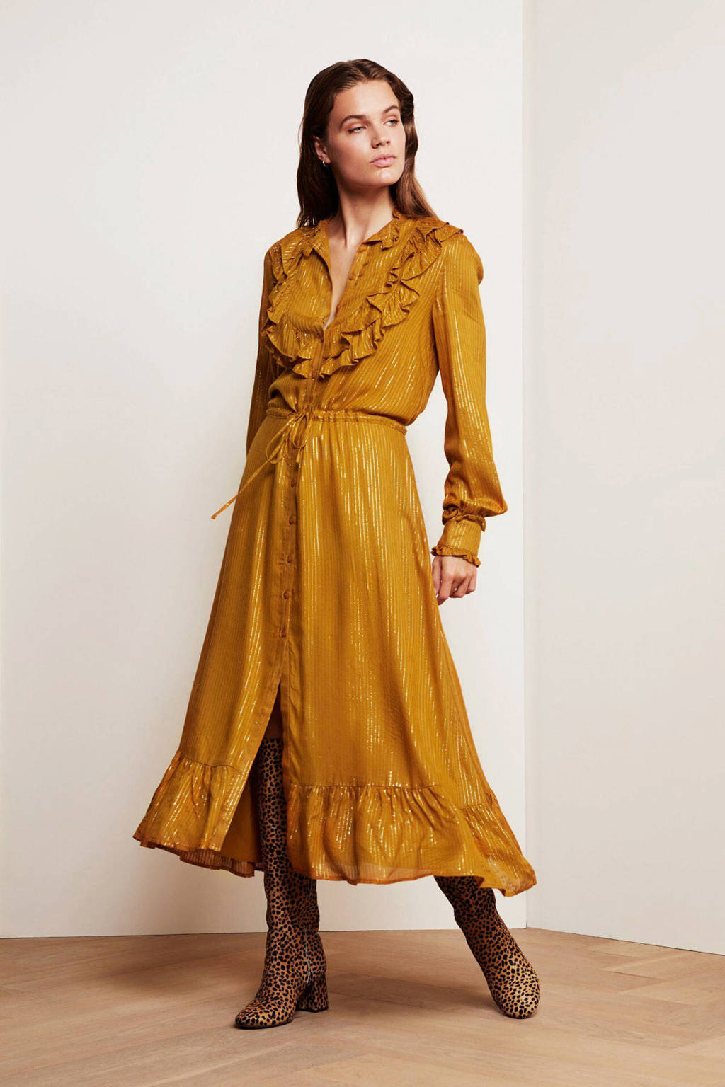 Fabienne Chapot blousejurk Fia met ruches mustard
