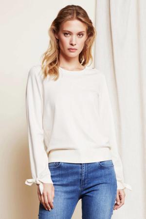 fijngebreide trui Molly bow gebroken wit
