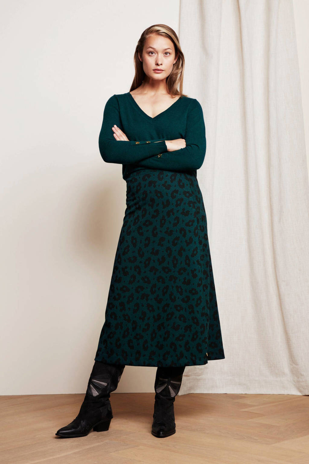 Fabienne Chapot rok Phene met panterprint groen/ zwart, Groen/ zwart