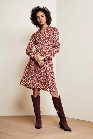 blousejurk Hayley met panterprint beige/paars