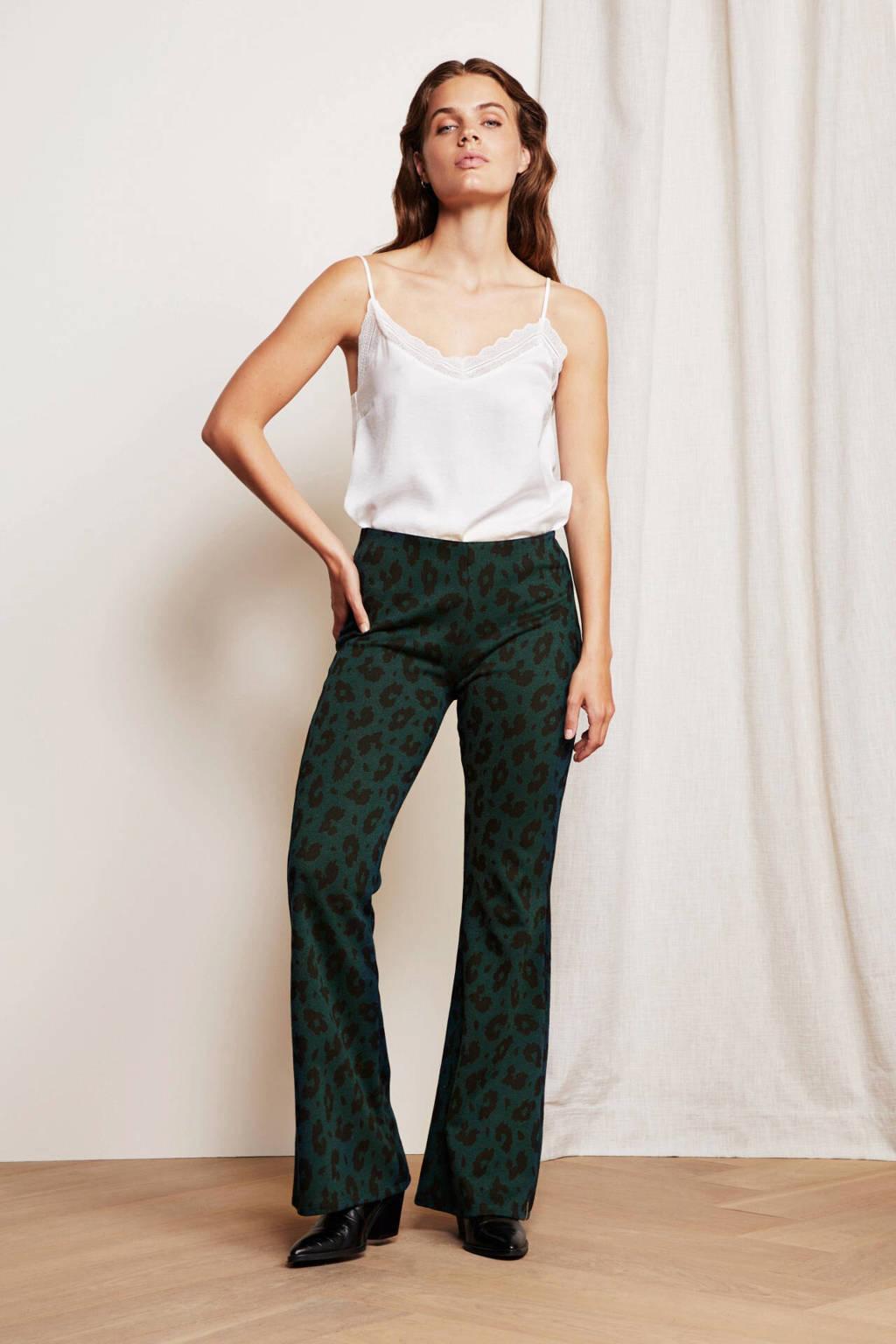 Fabienne Chapot flared broek Phene met panterprint groen/ zwart, Groen/ zwart