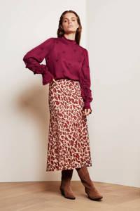 Fabienne Chapot rok Claire van gerecycled polyester beige/paars, Beige/rood