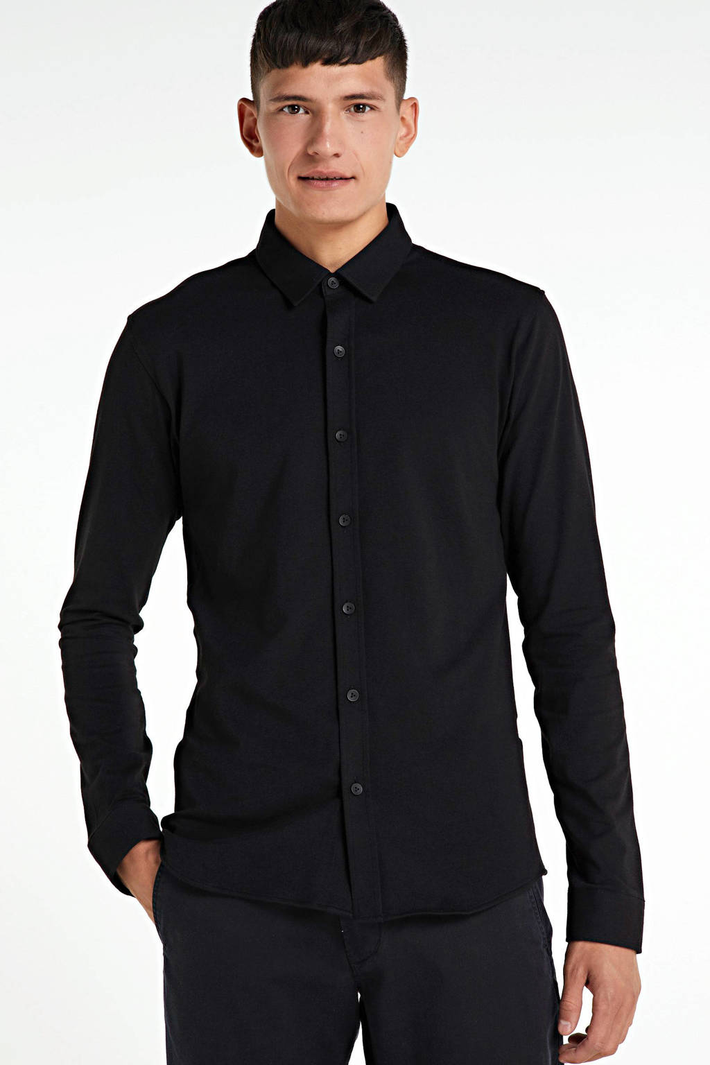 Purewhite slim fit overhemd zwart, Zwart