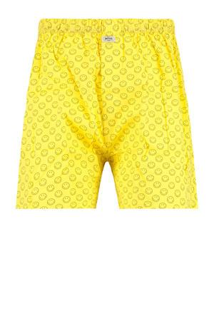 boxershort Smile met all over print geel