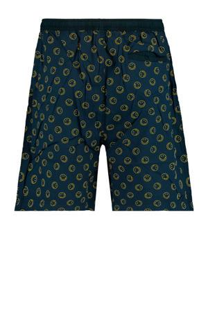 pyjamashort met all over print donkerblauw/geel