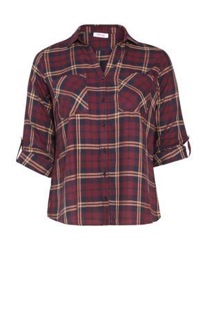 geruite blouse donkerrood/donkerblauw/beige