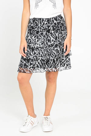 rok met all over print en volant zwart/ecru
