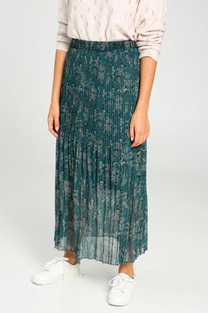 semi-transparante rok met all over print petrol/rood/beige