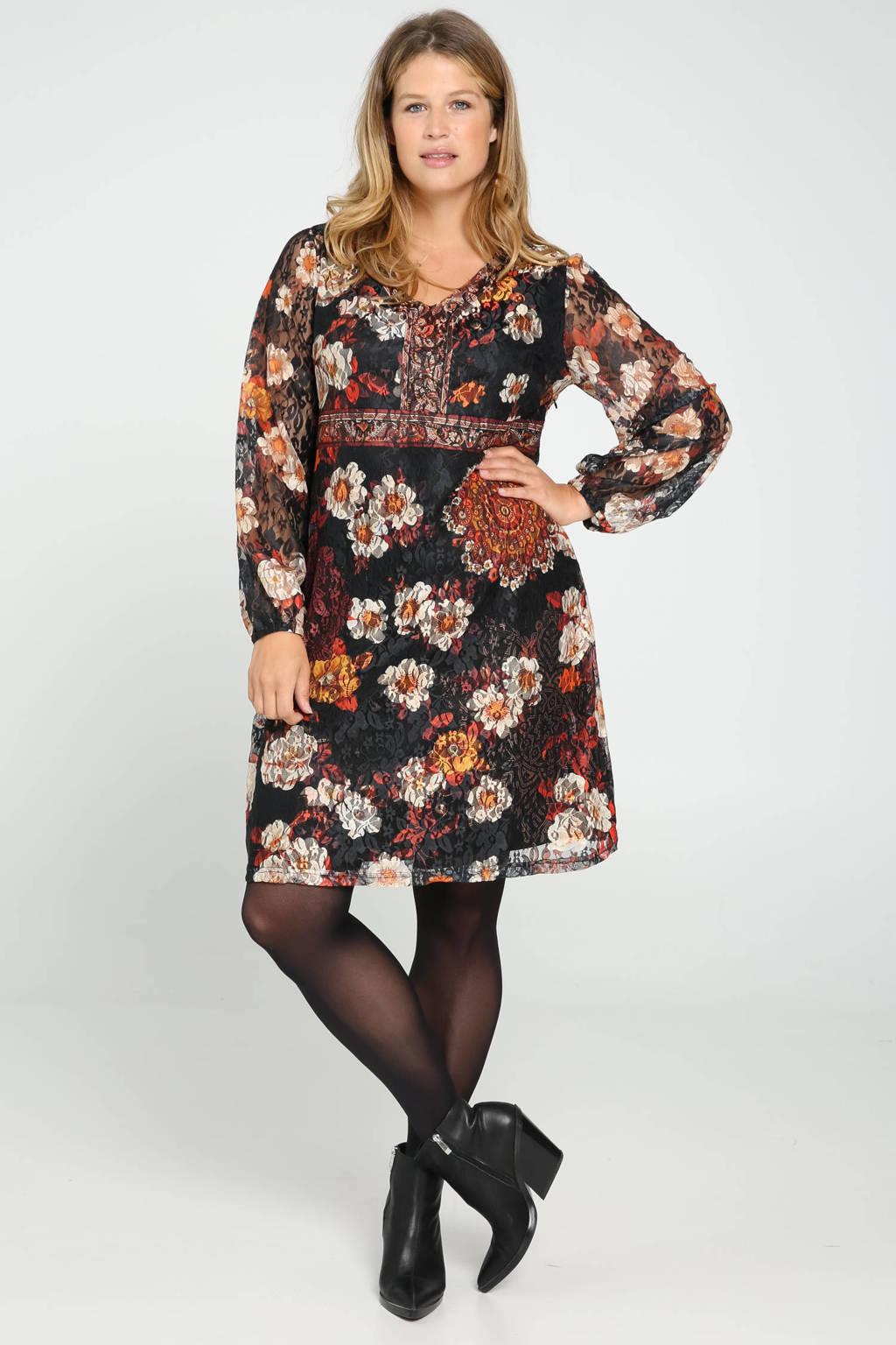 Paprika gebloemde jurk zwart/multi, Zwart/multi