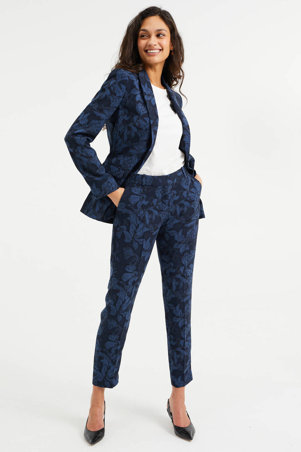 WE Fashion blazer met all over print royal blue, Royal blue