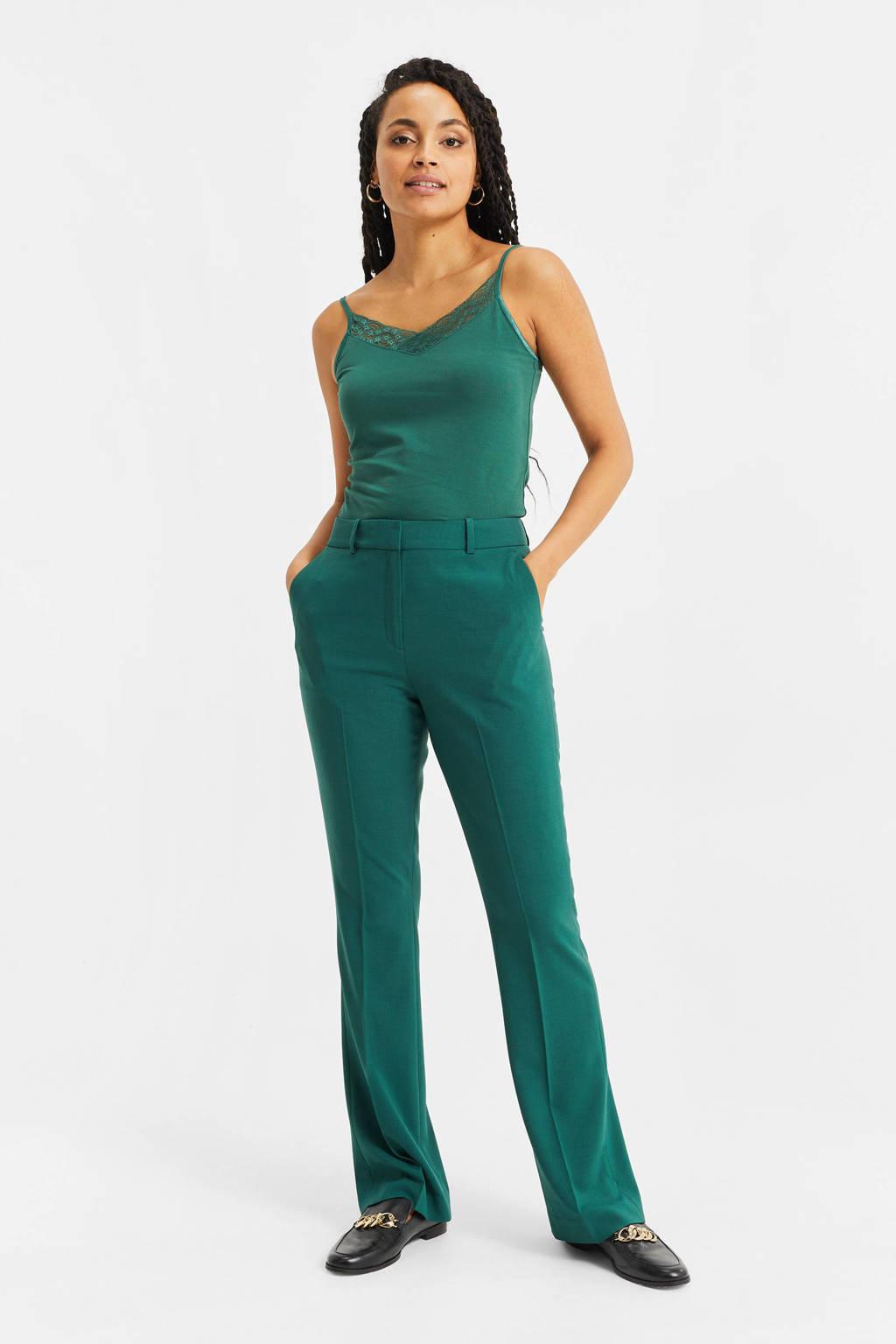 WE Fashion straight fit pantalon groen, Groen