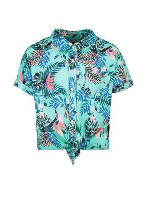 blouse Tropica met bladprint mintgroen/blauw/roze