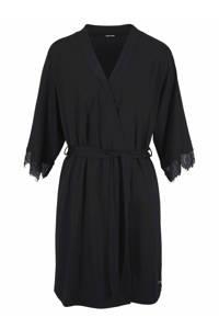 Lascana jersey kimono met kant zwart, Zwart