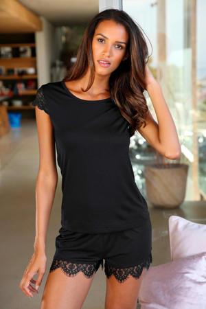 pyjamashort met kant zwart