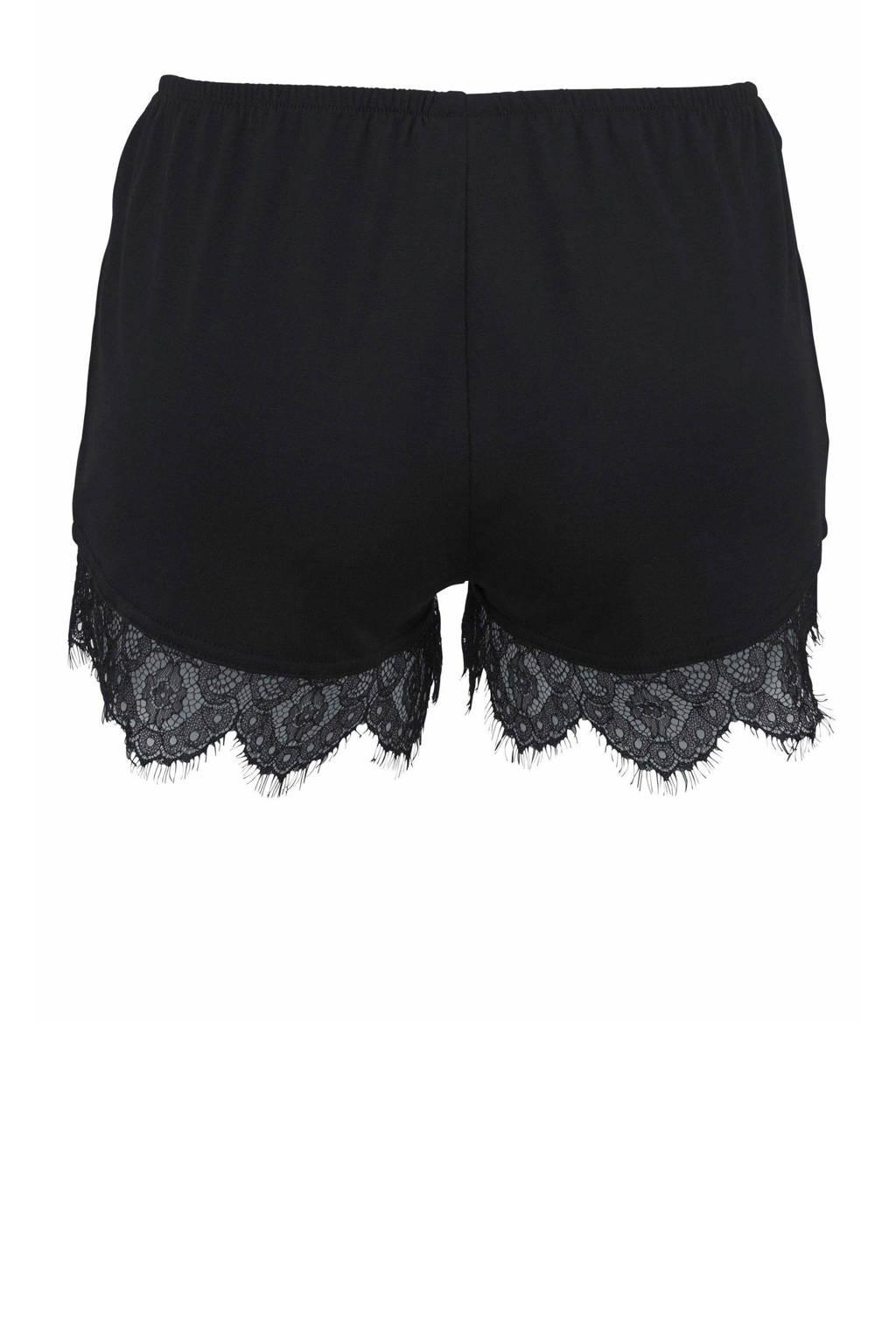 Lascana pyjamashort met kant zwart, Zwart