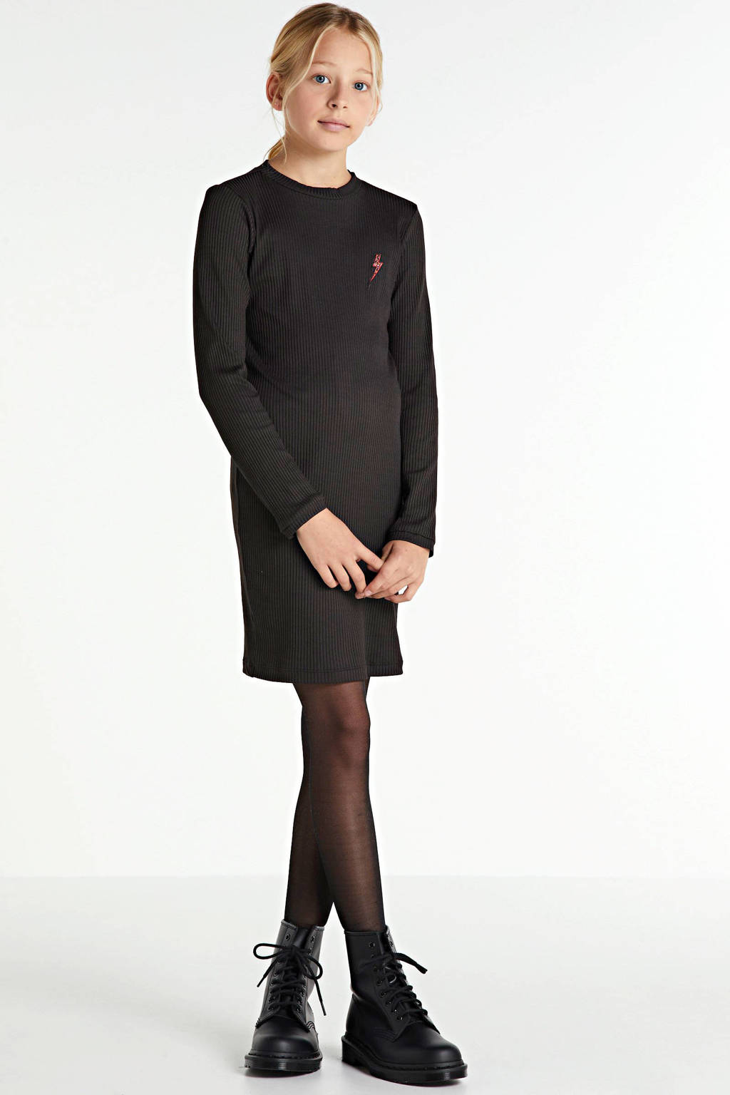 Zigga ribgebreide jurk met borduursels zwart, Zwart
