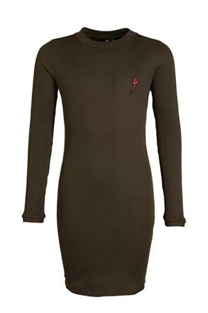 ribgebreide jurk legergroen