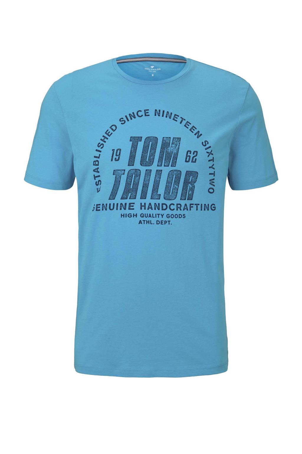 Tom Tailor T-shirt met logo blauw, Blauw