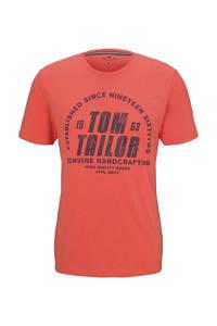 Tom Tailor T-shirt met logo oranje, Oranje