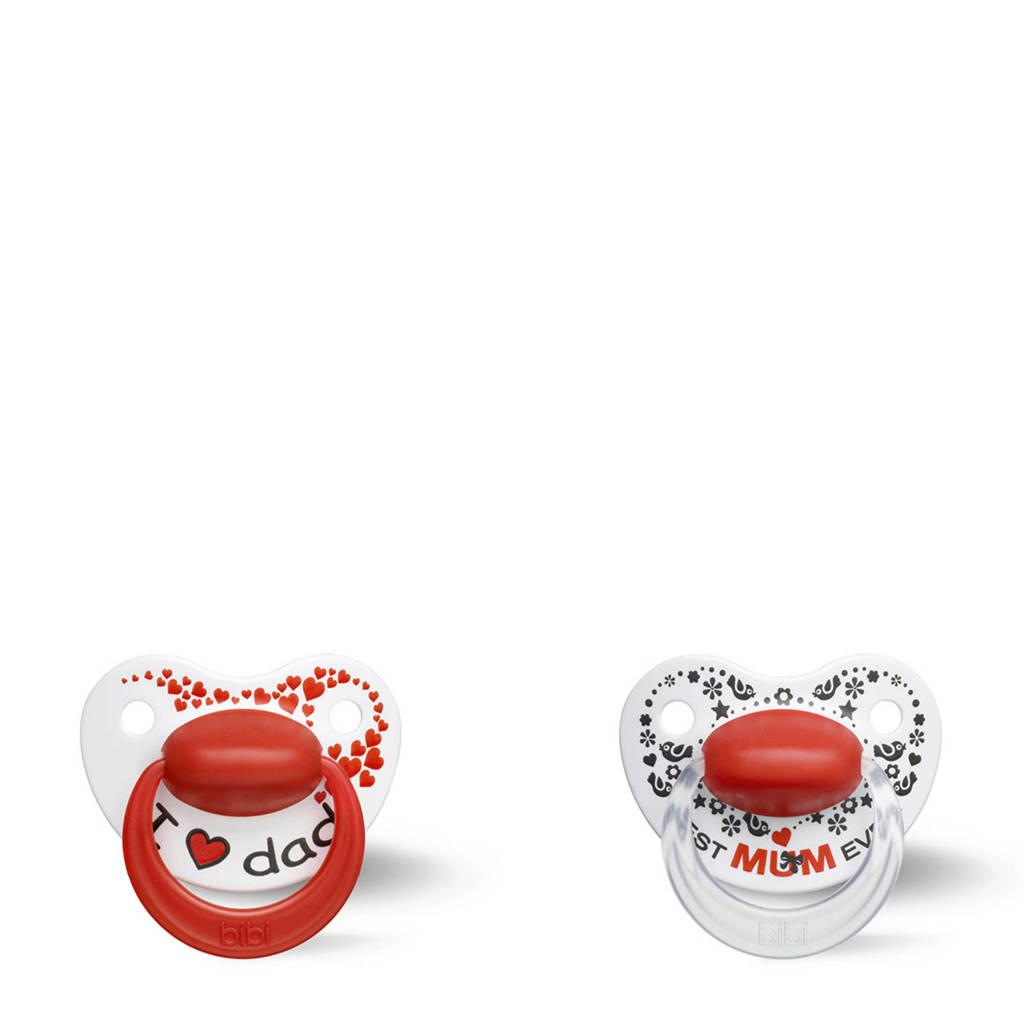 Bibi fopspeen Happiness Duo Premium Papa/Mama 6-16 mnd (2 stuks), Wit/rood/zwart