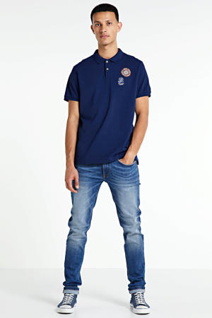 regular fit polo met printopdruk donkerblauw