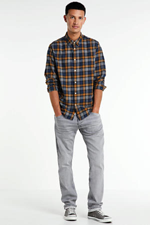 geruit regular fit overhemd Telford donkerblauw/camel