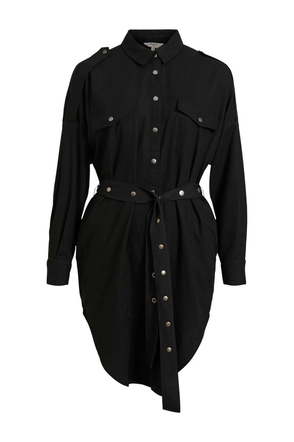 OBJECT blousejurk Binsti met linnen zwart, Zwart