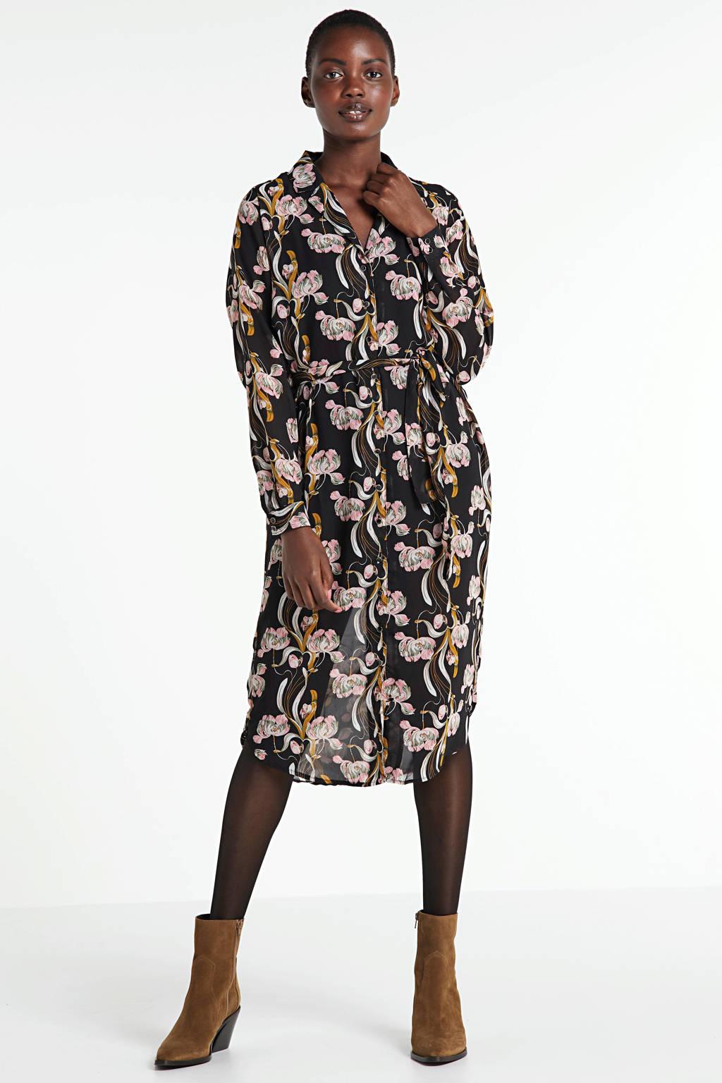 OBJECT gebloemde blousejurk Cinna zwart/roze/geel, Zwart/roze/geel