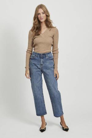 high waist loose fit jeans Moji medium blue