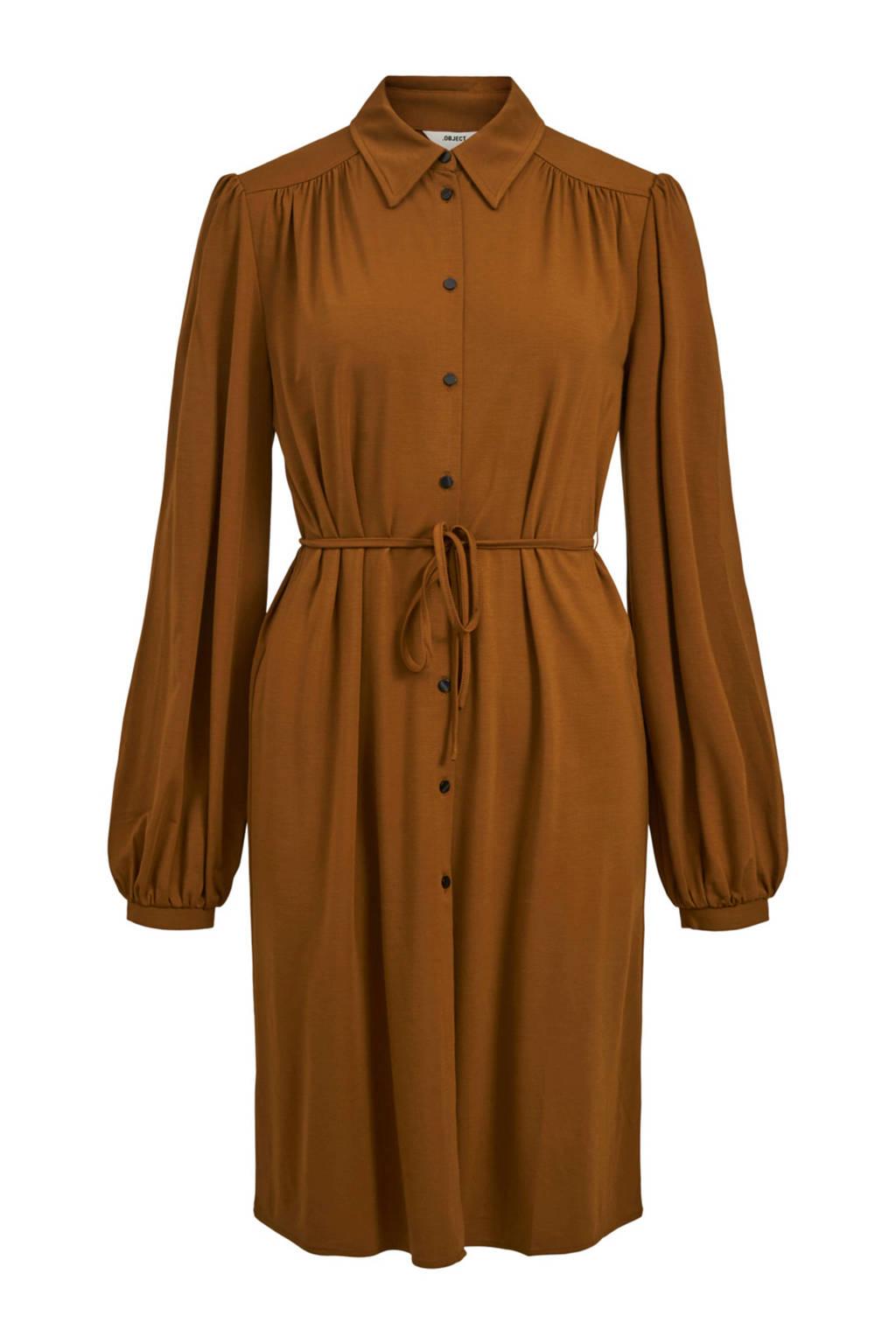 OBJECT blousejurk Lay met ceintuur bruin, Bruin
