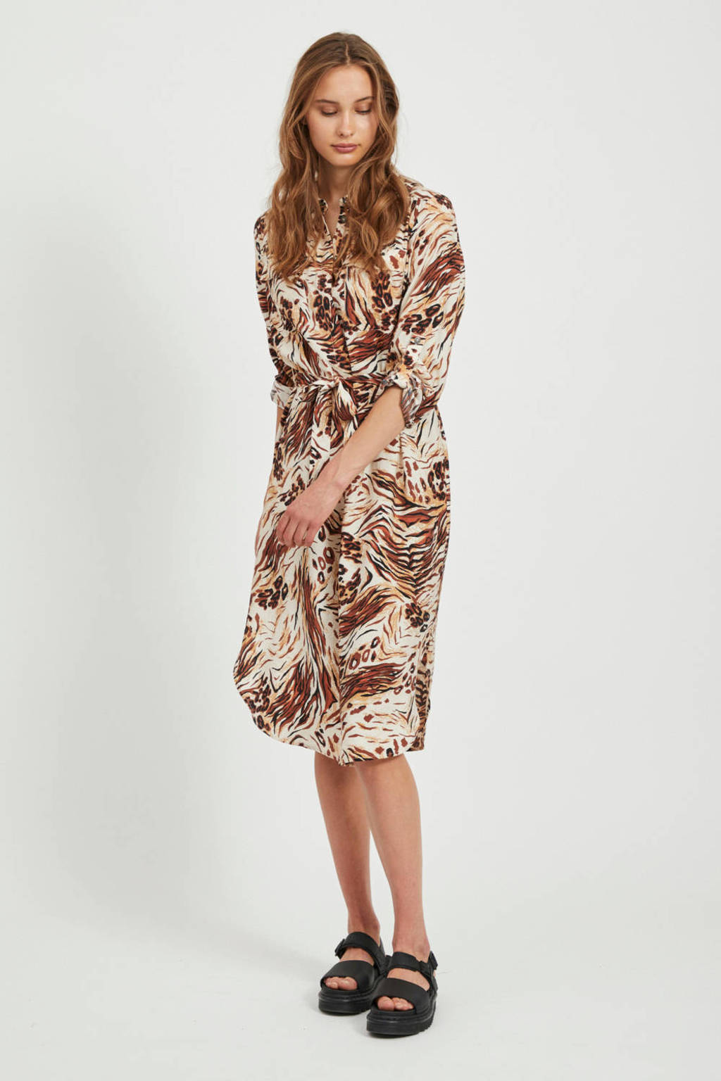 OBJECT blousejurk Emerson met all over print en ceintuur beige/bruin, Beige/bruin