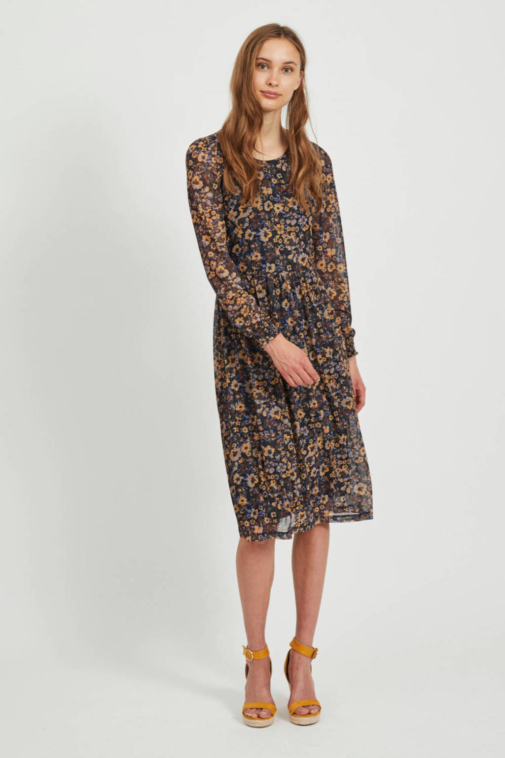 VILA semi-transparante jurk Violette met all over print en plooien zwart/multi, Zwart/multi