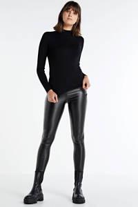 Soyaconcept coated high waist skinny broek SC-PAM 3-B zwart, Zwart