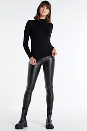coated high waist skinny broek SC-PAM 3-B zwart