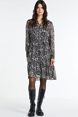 semi-transparante jurk SC-LORENA 3 met all over print en volant zwart/multi