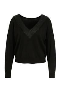 ONLY trui Maisie met kant zwart, Zwart