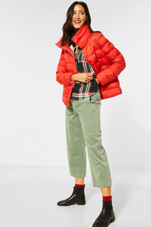 gewatteerde jas rood