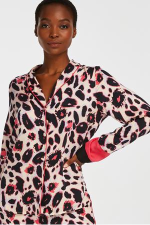 pyjamatop met all over print roze/zwart