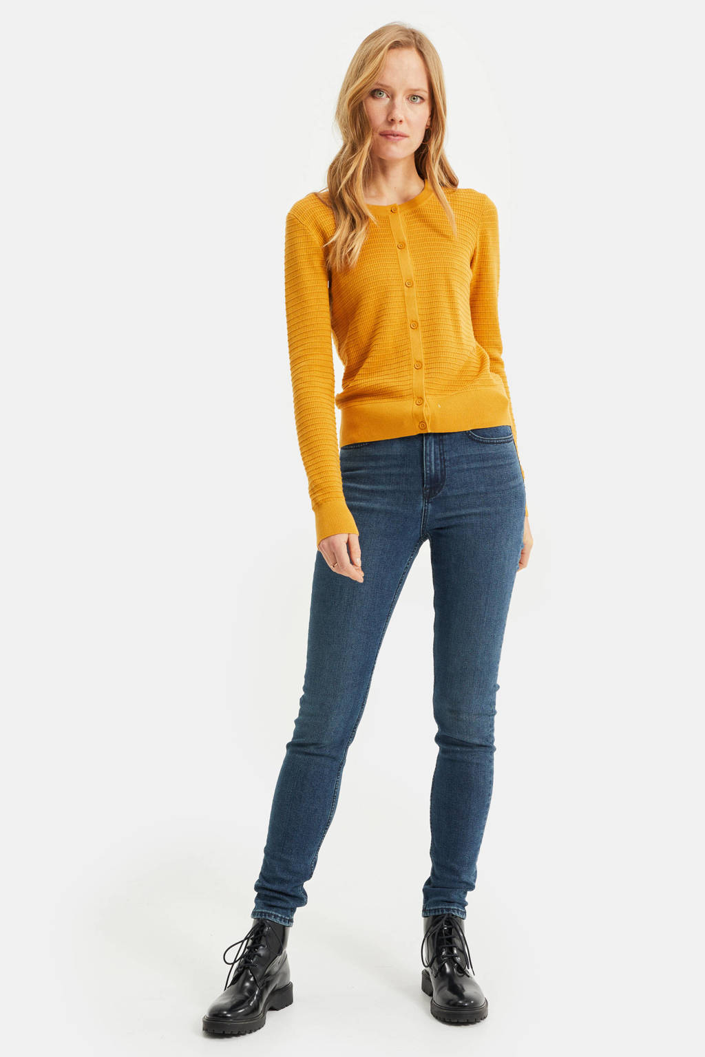 WE Fashion vest met textuur geel, Geel