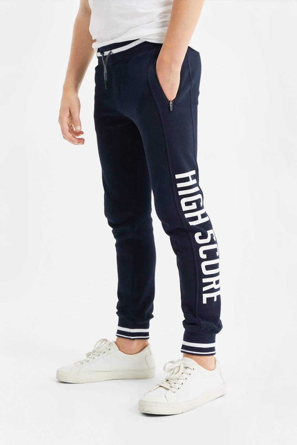 WE Fashion joggingbroek met tekst donkerblauw/wit, Donkerblauw/wit